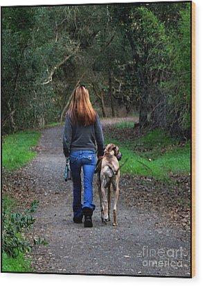 Walking The Dog Wood Print by Leslie Hunziker