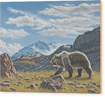 Walking The Ridge - Grizzly Wood Print by Paul Krapf