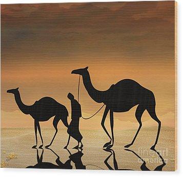 Walking The Sahara Wood Print by Bedros Awak