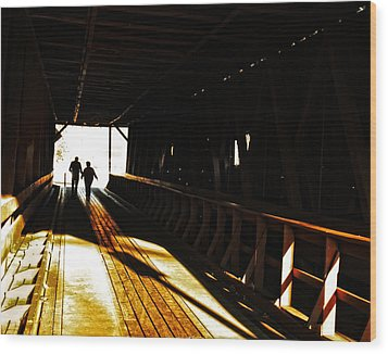 Walking Through History - Elizabethton Tennesse Covered Bridge Wood Print by Denise Beverly