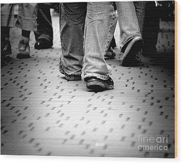 Walking Through The Street Wood Print by Michal Bednarek