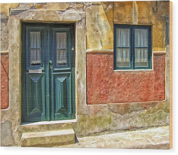Wood Print featuring the painting Walking Through Vila De Conde by Michael Pickett