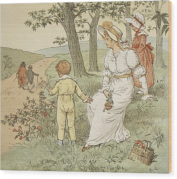 Walking To Mouseys Hall Wood Print by Randolph Caldecott