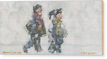 Walking To The Rink Wood Print