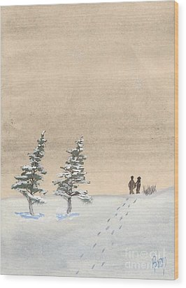 Walking Together Wood Print by Robert Meszaros