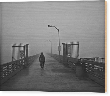 Walking Towards The Abyss Wood Print by Larry Butterworth