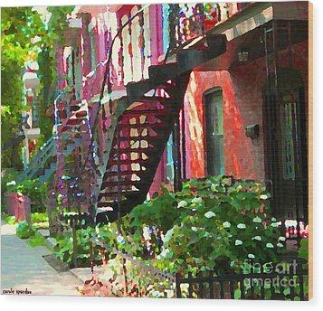 Walking Verdun Spiral Staircases Graceful Circular Steps Montreal Colorful Scenes Carole Spandau  Wood Print by Carole Spandau