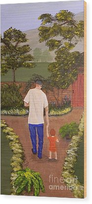 Walking With Papa Wood Print