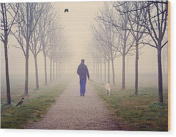 Walking With The Dog Wood Print