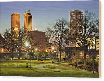 Walkway City View - Tulsa Oklahoma Wood Print