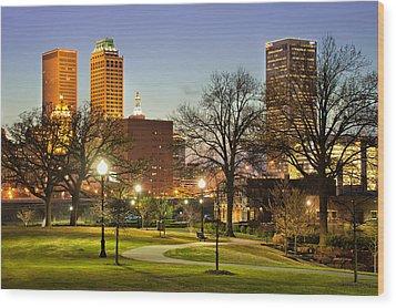 Walkway City View - Tulsa Oklahoma Wood Print by Gregory Ballos