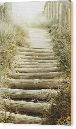 Walkway To Beach Wood Print by Les Cunliffe