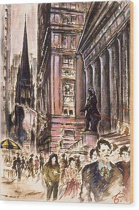New York Wall Street - Fine Art Wood Print