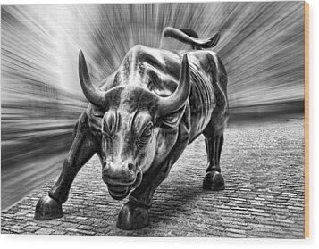 Wall Street Bull Black And White Wood Print