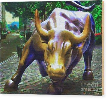Wall Street Bull V2 Wood Print by Wingsdomain Art and Photography