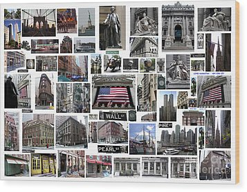 Wood Print featuring the digital art Wall Street Financial District Collage by Steven Spak