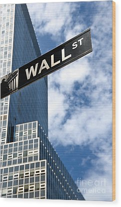 Wall Street Street Sign New York City Wood Print by Amy Cicconi