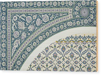 Wall Tiles Of Sibyl D Abd-el Rahman Kyahya From Arab Art As Seen Through The Monuments Of Cairo  Wood Print by Emile Prisse d Avennes