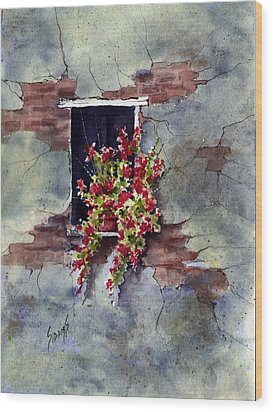 Wall With Red Flowers Wood Print by Sam Sidders