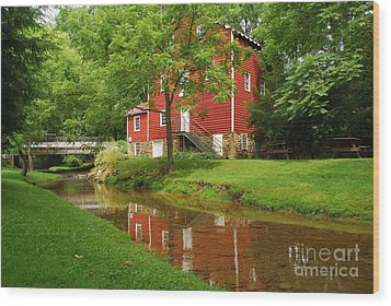 Wood Print featuring the photograph Wallace Cross Grist Mill Reflections by Bob Sample