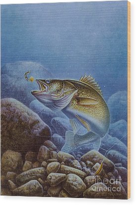 Walleye And Lindy Wood Print by Jon Q Wright