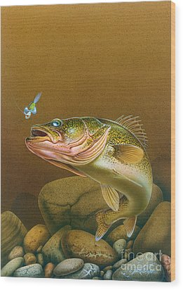 Walleye And Spinner Jig Wood Print by Jon Q Wright