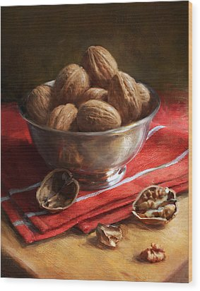 Walnuts On Red Wood Print by Robert Papp