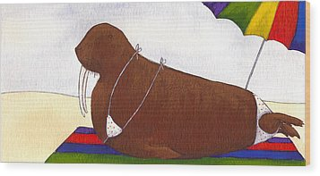 Walrus At The Beach Wood Print by Christy Beckwith