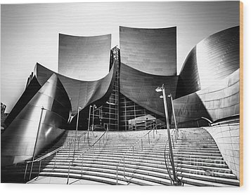 Walt Disney Concert Hall In Black And White Wood Print by Paul Velgos