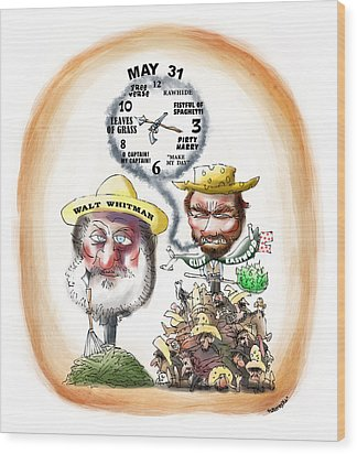 Walt Whitman Meets Clint Eastwood Wood Print by Mark Armstrong