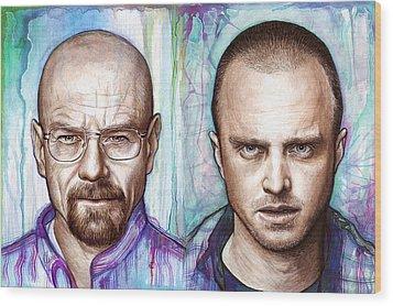 Walter And Jesse - Breaking Bad Wood Print by Olga Shvartsur