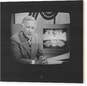 Walter Cronkite, American Journalist Wood Print by Everett