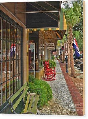 Walterboro Sc Sidewalk Wood Print by Bob Sample