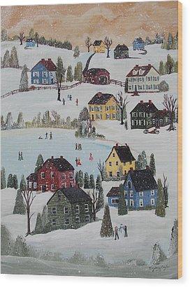 Waltzing Snow Wood Print