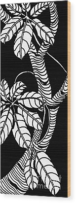 Wandering Leaves Octopus Tree Design Wood Print by Mukta Gupta