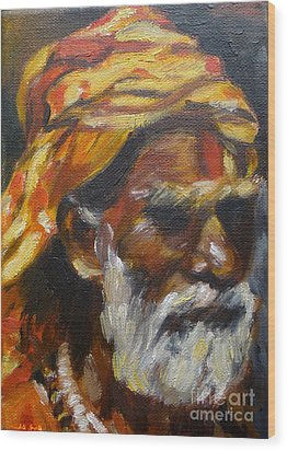 Wood Print featuring the painting Wandering Sage Small by Mukta Gupta