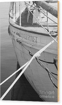Wanderlust Black And White Wood Print by Amanda Barcon