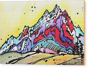 Wood Print featuring the painting Waning Seasons In The Tetons by Nicole Gaitan