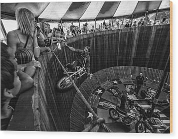 Wall Of Death Wood Print by Kevin Cable