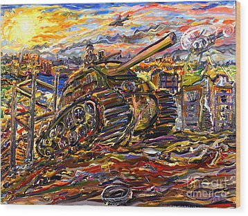 War At Sunset Wood Print by Arthur Robins