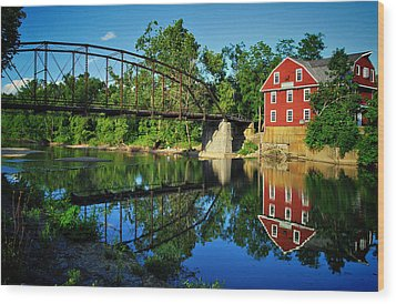 War Eagle Mill And Bridge Wood Print by Gregory Ballos