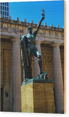 War Memorial Statue Youth In Nashville Wood Print by Dan Sproul