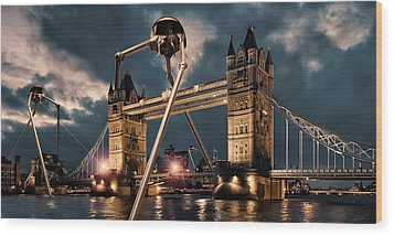 War Of The Worlds London Wood Print by Peter Chilelli
