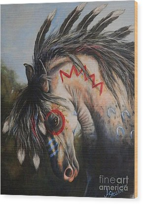 War Pony #3 Chieftan Wood Print by Amanda Hukill