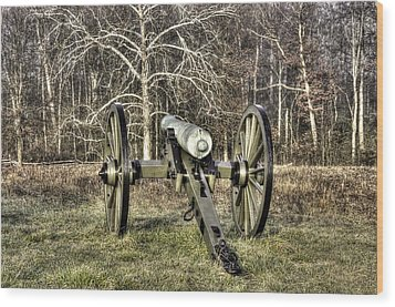 Wood Print featuring the photograph War Thunder - 1st New York Light Artillery-a2 Battery D The Wheatfield Late Winter Gettysburg by Michael Mazaika