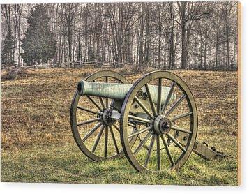 Wood Print featuring the photograph War Thunder - 1st New York Light Artillery-b1 Battery D The Wheatfield Late Winter Gettysburg by Michael Mazaika