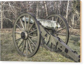 Wood Print featuring the photograph War Thunder - 1st New York Light Artillery-c1 Battery D The Wheatfield Late Winter Gettysburg by Michael Mazaika