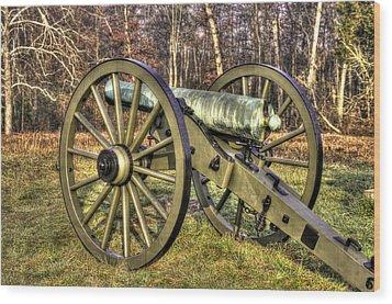 Wood Print featuring the photograph War Thunder - 1st New York Light Artillery-c2 Battery D The Wheatfield Late Winter Gettysburg by Michael Mazaika