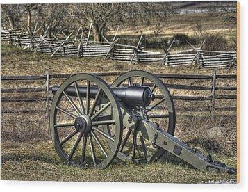 Wood Print featuring the photograph War Thunder - 9th Michigan Btry 1st Michigan Light Artillery Battery I Hancock Ave Gettysburg by Michael Mazaika