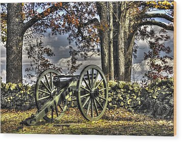 Wood Print featuring the photograph War Thunder - Lane's Battalion Ross's Battery-a1 West Confederate Ave Gettysburg by Michael Mazaika